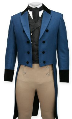 Cobalt Regency Coat imparts the swagger of early 19th century civility, making you the center of pleasing attentions from envious men and amorous women.