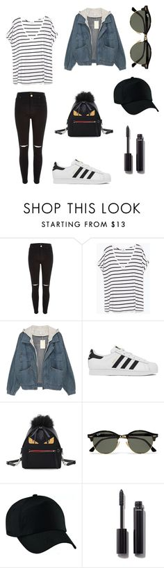 """Surrounded by black, always"" by her-aesthetic on Polyvore featuring River Island, Zara, adidas, Fendi, Ray-Ban and Chanel"
