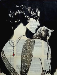 ARTFINDER: Ruby by Loui Jover - ink on vintage book pages adhered together to create one sheet ready for framing as desired, with added collage rhinestones..part of an ongoing series of wor...