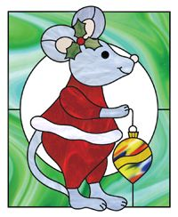 Mouse & ornament. Details added using glass paint, glued solder blobs, or copper foil overlay.