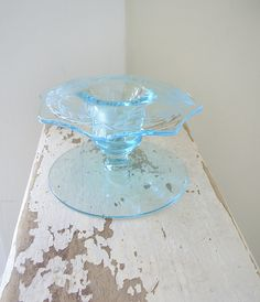 depression glass etched candleholder found at WillowTreeAntiques on Etsy.