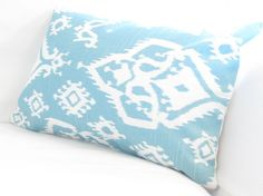 Teal Turquoise Ikat Lumbar Pillow Cover Blue by FineFreshDesign, $26.00