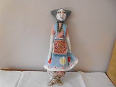 "Original Handmade hippy art Doll "" Daisy"" , made from vintage fabric , painted face , hand knitting by smiffyandbow on Etsy"