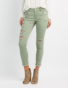 089a6491b #CRItsOn Olive Skinny Jeans, Cropped Skinny Jeans, Mid Rise Skinny Jeans,  Distressed