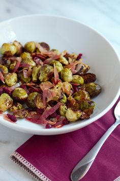Roasted Brussle Sprouts with Panchetta and Cranberries from Pidges Pantry