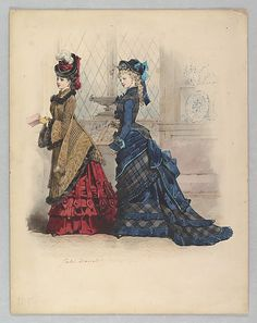 """costumehistory: """" """"Two Women in Day Dresses"""" Jules David French 1875 The Metropolitan Museum of Art """" 1870s Fashion, Edwardian Fashion, Vintage Fashion, French Fashion, Historical Costume, Historical Clothing, Metropolitan Museum, Victorian Gown, 19th Century Fashion"""