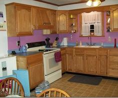 how i painted my oak cabinets, doors, kitchen cabinets, kitchen design, painting, Before note the one small window that allows very little light in the kitchen due to a patio and a huge tree