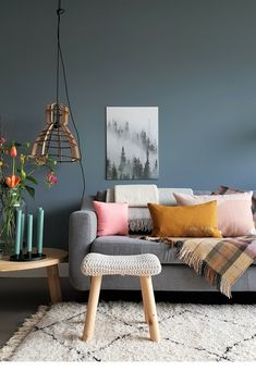 Grey walls craving colder days - Masterpiece - get inspired, with Sigma Malta Living Room Sofa, Home Living Room, Living Room Decor, Living Spaces, Gray Interior, Interior Design, Room Wall Colors, Deco Furniture, Grey Walls