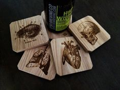 Oak Wooden Anatomy Coasters Medical Coasters by ReImagineBrewing