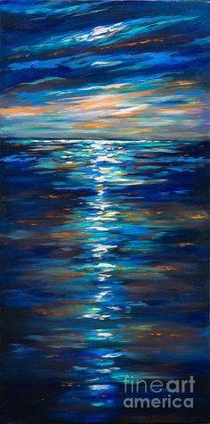 Dusk On The Ocean Painting by Linda Olsen