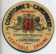 Original Camembert vintage French cheese label from Normandy! Vintage Labels, Vintage Ads, French Vintage, Fromage Cheese, French Cheese, Cheese Shop, Vintage Graphic Design, Decoupage, Wine Cheese