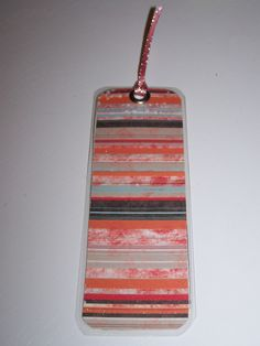 laminated paper bookmark (rd) - org stripes