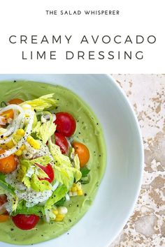 Easy recipe for delicious creamy avocado lime dressing. So yummy! Avocado Lime Dressing, Original Recipe, Lime Juice, Food Processor Recipes, Easy Meals, Salad, Stuffed Peppers, Cooking, Inspiration