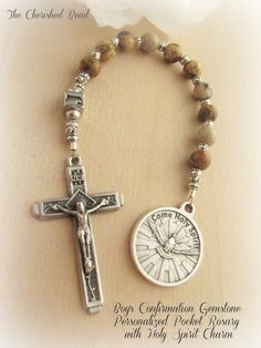 Boy's Personalized Catholic Confirmation Gemstone Pocket Rosary with Holy Spirit Charm