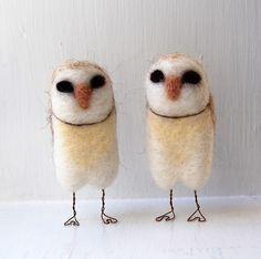 Needle-felted owls.