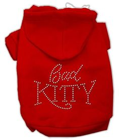 Bad Kitty Rhinestud Hoodie Red XS (8)