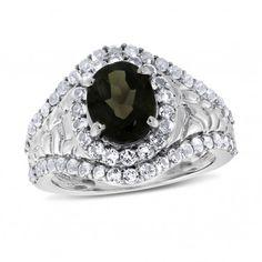 Viola, Oval-cut Smoky Quartz & White Topaz Ring in Sterling Silver