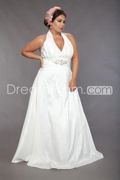 Delicate+Empire+Halter+Floor-length+Pin+Plus+Size+Wedding+Dresses