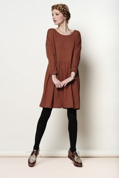 Brown Tenille dress 100% slub cotton - robe - Des Petits Hauts