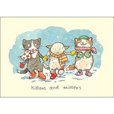 Kittens And Mittens Card by Anita Jeram - Two Bad Mice Christmas Illustration, Children's Book Illustration, Animal Drawings, Cute Drawings, Anita Jeram, Kitten Mittens, Christmas Cats, Cat Art, Penny Black