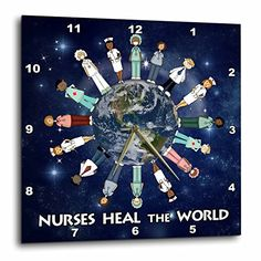 3dRose Nurses Heal The World Planet Earth with Male and Female Nurses of All Cultures Circling The Globe  Wall Clock 10 by 10Inch dpp_79459_1 -- Continue to the product at the image link.
