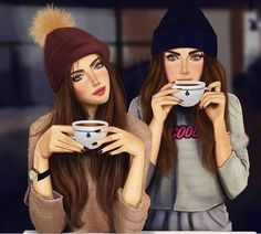 Shared by Find images and videos on We Heart It - the app to get lost in what you love. Cute Best Friend Drawings, Cute Friend Pictures, Girly Drawings, Drawings Of Friends, Girly Pictures, Beautiful Girl Drawing, Cute Girl Drawing, Cartoon Girl Drawing, Girly M