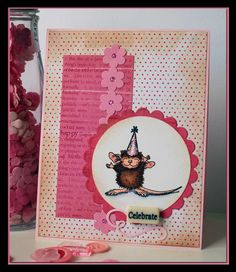 Pink House Mouse Birthday Card ***February 2011 Card Sketch Challenge - Scrapjazz.com