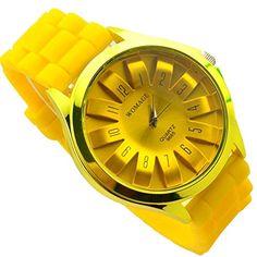 Soulvin Women Retro Geneva Sports Silicone Belt Charm Wrist Bracelet Quartz Watch Yellow >>> Click image to review more details.