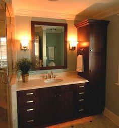 Linen closet for bathroom interesting interesting bathroom vanity with linen cabinet chic bathroom linen cabinets bathroom . linen closet for bathroom Bathroom Linen Cabinet, Bathroom Cabinetry, Bathroom Storage, Small Bathroom, Master Bathroom, Bathroom Vanities, Bathroom Cabinets Over Toilet, Bathroom Ideas, Linen Cabinets