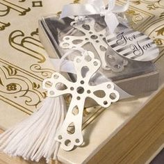 Silver Cross Bookmark Favors, perhaps use also for seat assignments.