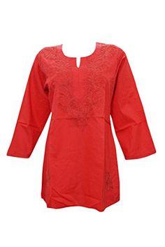 Indiatrendzs Women Red Cotton Kurta Regular Fit Lucknow Chikan Handmade Embroidered Kurti XL Indiatrendzs http://www.amazon.in/dp/B01ABVAA3E/ref=cm_sw_r_pi_dp_cjKbxb1KF1YW7 #Womenskurti #Kurtas
