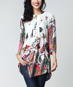 Another great find on #zulily! White Paisley Notch Neck Pin-Tuck Tunic #zulilyfinds