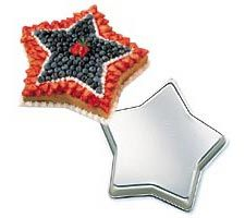 Wilton Star Cake Pan    Wilton Star Cake Pan Price: $9.99 What better way to honor the celebrity in your life? Brighten birthdays, graduation, opening nights, even law enforcement occasions.  One-mix pan is 12 3/4 x 1 7/8 in. deep. Aluminum.  Brand New. Place Order at  http://www.cookiecuttersplus.com/content-product_info/product_id-2458/wilton_star_cake_pan.html