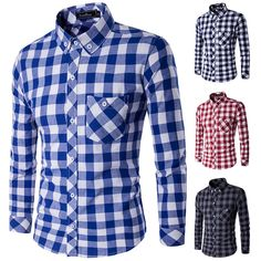 Mens Fashion Plaid Long Sleeve Classic Pocket Contrast Color Turn-down Collar Slim Fit Casual Shirt