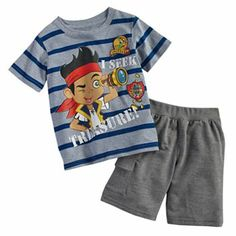 "Disney Jake and the Neverland Pirates ""I Seek Treasure"" Tee & Shorts Set - Comfy and fun - exactly what you want your kids in while on their Disney adventure!"