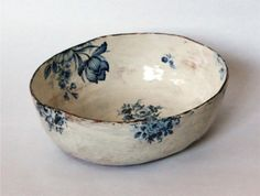 porcelain china rub on decals. on a rustic handmade pottery bowl. Ceramic Bowls, Ceramic Pottery, Ceramic Art, Porcelain Ceramic, Blue Pottery, Pottery Vase, Ceramic Mugs, Painted Pottery, Pottery Wheel