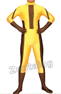 Yellow Coffee Lycra Spandex Catsuit
