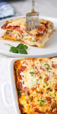 This healthy Butternut Squash Lasagna is the perfect fall dinner to warm up to Layers of butternut squash spinach and cheese bake into a dreamy gluten free and grain free casserole Make this butternut spinach lasagna to freeze and reheat on a busy night Fall Dinner Recipes, Healthy Dinner Recipes, Cooking Recipes, Vegetarian Lasagna Recipe, Healthy Vegetarian Casserole, Fall Vegetarian Recipes, Vegetable Lasagna Recipes, Healthy Lasagna, Gluten Free Lasagna