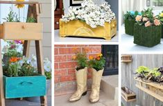 25 Fantastic Spring Planter Ideas to Brighten Your Home and Garden - Modern Home Garden Design, Home And Garden, Wicker Planter, Porch Planter, Backyard Games, Outdoor Games, Backyard Patio, Mini Fairy Garden, Fairies Garden