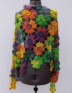 Amazing Flowers Shawl Buy … Pattern … How to Crochet the Double Treble (or Double Triple) Crochet Stitch (dtr).Beautiful Women& Shawl Wrap For Spring and autumn The Square MotifSource … Fabulous Lace Shawl, Scarf Or Wrap Pattern (A) . Poncho Crochet, Col Crochet, Crochet Shawls And Wraps, Freeform Crochet, Crochet Scarves, Irish Crochet, Crochet Motif, Crochet Stitches, Lace Shawls