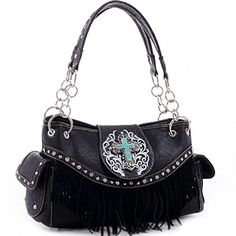 Realtree Floral Tooled Trim with Fringe and Cross Shoulder Bag  Black ** You can find out more details at the link of the image.