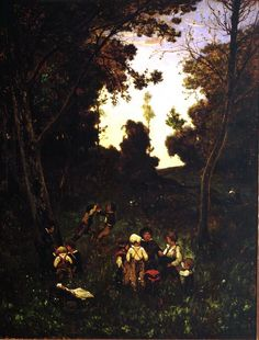 "Henri Joseph Harpignies: ""Children at Play"", 19th century, Oil on canvas, Dimensions: FRAMED: 31 3/4 x 25 3/4 x 2 1/4 in. (80.6 x 65.4 x 5.7 cm) Image: 26 1/4 x 20 1/4 in. (66.7 x 51.4 cm), Current location: John & Mable Ringling Museum of Art, Sarasota, FL."