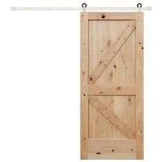 36 in. x 84 in. Rustic Unfinished 2-Panel Left Knotty Alder Wood Barn Door with Stainless Sliding Door Hardware Kit