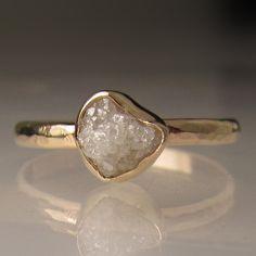 Raw White Diamond Engagement Ring  14k Yellow Gold by JanishJewels, $425.00