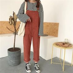 EXOTAO Corduroy Loose Casual Bodysuit for Female Retro Pocket Adjustable Lace Feminino Jumpsuits All Match Solid Lady Macacao Jumper Pants Outfit, Overalls Outfit, Dungarees Shorts, Smart Casual, Forever21, Capsule Wardrobe, American Girl, Type Of Pants, Harajuku Fashion