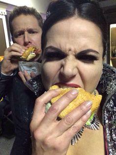 "#OUAT Behind The Scenes with Josh Dallas and Lana Parrilla on Season 4!! ""@LanaParrilla: #BurgerQueen & #MacAttack @joshdallas"""