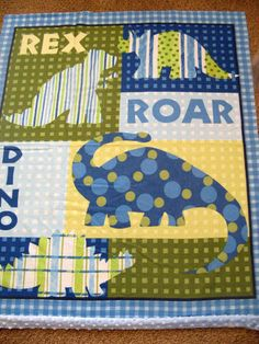 Dinosaur Baby Quilt Made To Order Blue Green