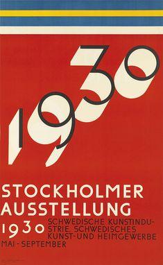 SIGURD LEWERENTZ (1885-1975) 1930 STOCKHOLM AUSSTELLUNG. 1929. 39 1/4x24 1/4 inches, 99 3/4x61 1/2 cm. Ivar Haeggstroms, Stockholm.