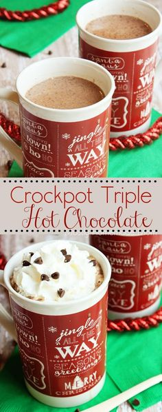 Crockpot Triple Hot Chocolate - White chocolate, baking cocoa, semi sweet, and unsweetened chocolate slow cook in milk and sugar for this decadent, rich hot chocolate - perfect for any Christmas or holiday party!