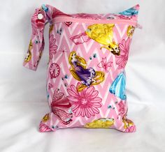 "Wet bag in Princess print! Perfect travel size 9""x12"". Perfect bag with multiple uses by Poshteriors on Etsy"